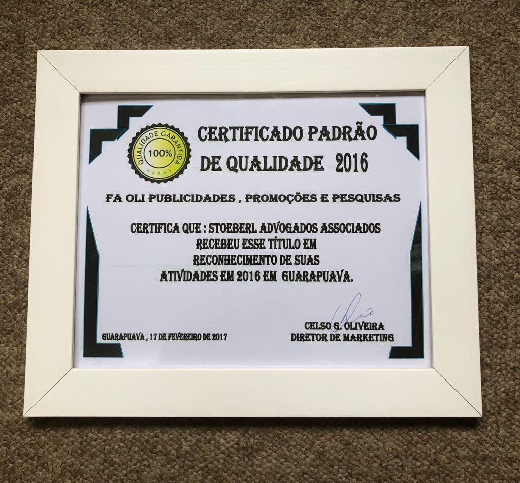 Certificado Padrão de Qualidade
